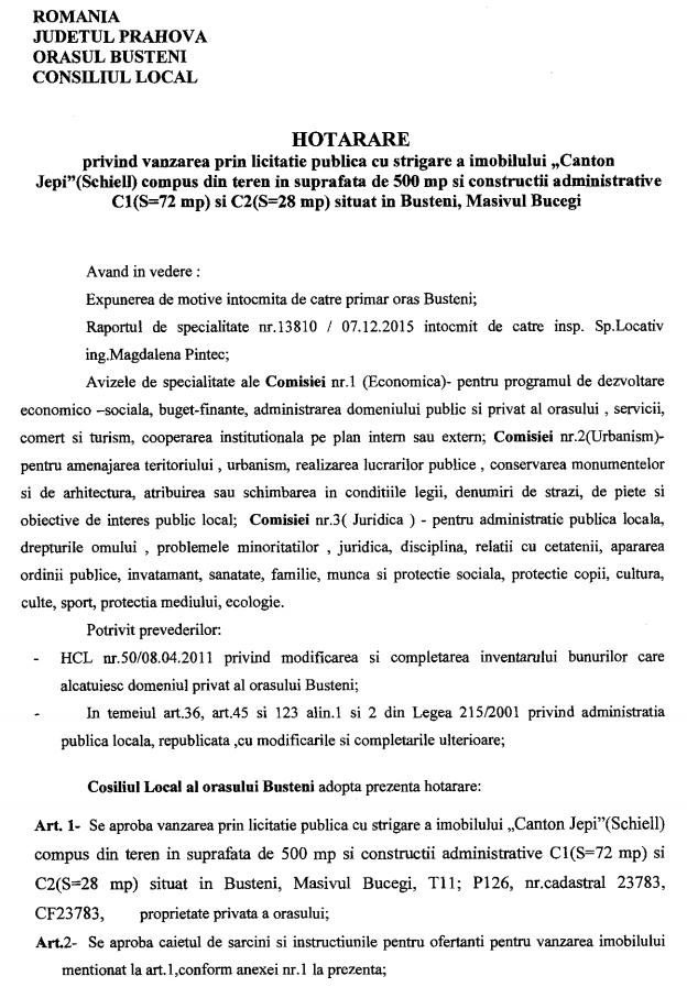 Hotarârea CL Bușteni nr. 211/07.12.2015